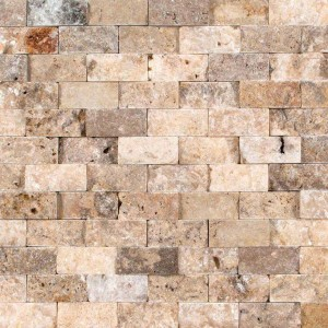 1 in. x 2 in. Scabos Travertine Split Face Mosaic Tiles