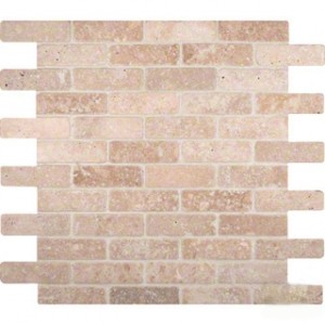 Tuscany Classic 1x3 Tumbled Bricks Travertine Mosaic Tile