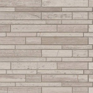 White Quarry Interlocking Pattern Honed Marble Mesh-Mounted Mosaic Wall Tile