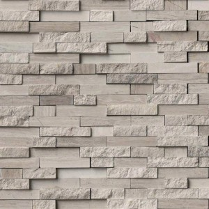 White Quarry Splitface Interlocking Marble Mesh-Mounted Mosaic Tile