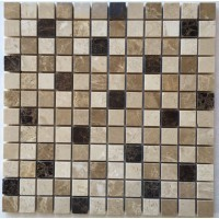 Spanish Emperador Blend 1X1 Polished Marble Mosaic Tile