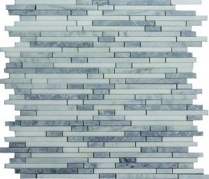 White Carrara Arctic Blend BT Brick Pattern Polished Mosaic Tile by Soci