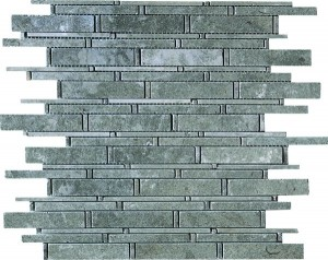 Linear Pattern Bamboo Gascogne Blue Polished Mosaic Tile by Soci