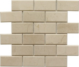 Crema Marfil 2×4 Bevel Brick Pattern Polished Mosaic Tile by Soci