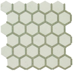 Hexagon Pattern Seegrass Hampton Blend Honeycomb Polished Mosaic Tile by Soci