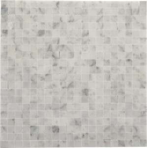 White Carrera No Grout 3/8×3/8 Square Pattern Polished Mosaic Tile by Soci