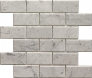 White Carrera 2×4 Bevel Brick Pattern Polished Mosaic Tile by Soci