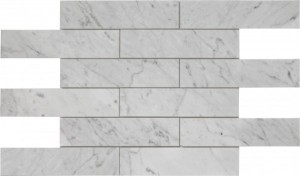 White Carrera 2×8 Brick Pattern Polished Mosaic Tile by Soci