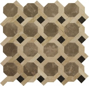 Crema Marfil London Blend Norfolk Pattern Polished Mosaic Tile by Soci
