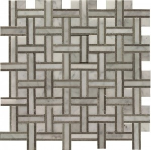 White Carrera Ethan Blend Normandy Pattern Polished Mosaic Tile by Soci