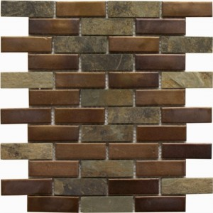 Ruston Blend 1×3 Brick Pattern Polished Mosaic Tile by Soci