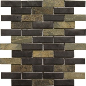Colton Blend 1×3 Brick Pattern Polished Mosaic Tile by Soci