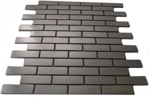 Stainless Steel  .75X2.5  Brick Pattern Metallo Tile