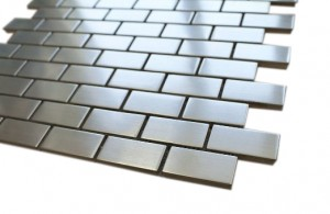 Stainless Steel Blend 1x2 Mesh-Mounted Metal Mosaic Tiles