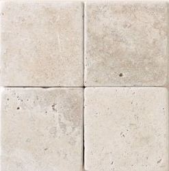 Crema Marfil 4 in.X 4 in.Tumbled  Marble Tile