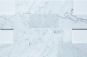 "Bianco White Carrara 3"" x 6"" Subway Honed Marble Tile"
