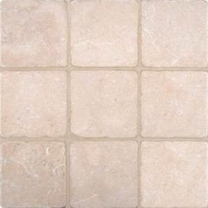 4 in. x 4 in.  Spanish Crema Marfil Tumbled Marble Tile