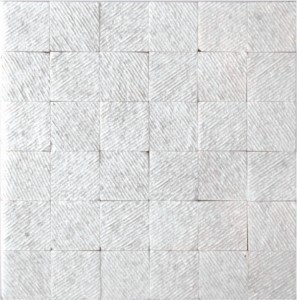 2x2 Square Pattern Veincut Textured Thassos Marble Mosaic Tile
