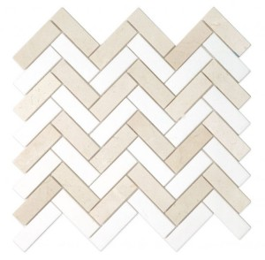 1 in. x 3 in. Herringbone Thassos White and Crema Marfil Marble Mosaic tile | Kitchen | Bathroom | Shower | Wall | Backsplash | Accent Wall