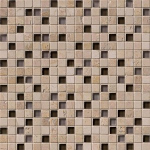 5/8x5/8 Quantum Cafe Noce Blend Square Glass Mosaic Tile