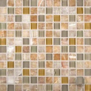 Honey Ivory Onyx Glass Stone Blend 1x1 Crystal Glass Mosaic Tile