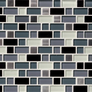 Myrtle 1x2 Crystal Cove Blend Interlocking Glass Mosaic Tile