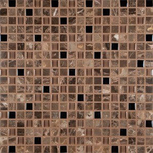 Cabana Emperador Cafe Glass Stone Blend 5/8x5/8 Mosaic Tile