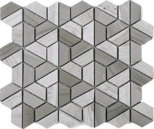"2"" x 2"" Hexagon Wooden Grey Marble Mesh Mounted Mosaic Tile"