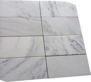 "Italian White Carrara 3"" x 6"" Subway Honed Venato Marble Tile"