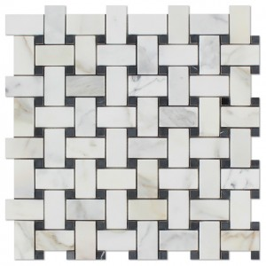Italian Calacatta Gold Basketweave with Black dot Polished Marble Mosaic Tile