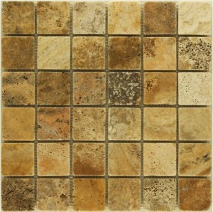 2 in. x 2 in. Scabos Tumbled Finish Square Pattern Mesh-Mounted Travertine Mosaic Tile