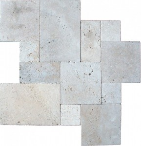 Tuscany Beige French Pattern Tumbled Paver Tile for Driveway and Pool Deck