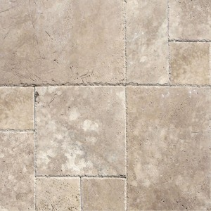 6x6 Tuscany Walnut Chiseled Travertine Paver Tiles for Driveway, Pool Deck, Patio