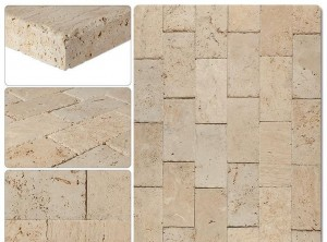 6 x 12 Tuscany Beige Travertine Tumbled Pavers for Driveway and Pool Deck