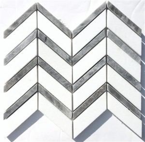 Thassos White Polished Chevron Pattern with Grey Marble Mosaic Tile