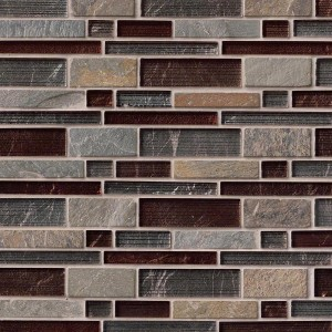 Urbano Blend Interlocking Glass / Stone Mosaic Tile for Wall, Backsplash