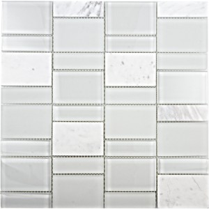 1x3 and 2x3 White Carrara Marble Mixed with Super White Glass Mosaic Tile