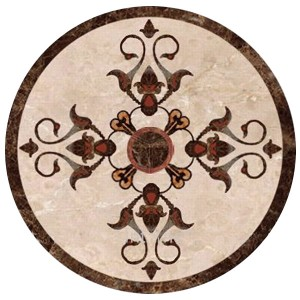 "40"" Dia. Round Dark and Light Emperador Marble Polished Water Jet Medallion"