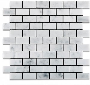 "Italian White Carrara Marble 1"" x 2"" Brick Honed Mosaic Tile"