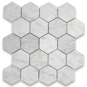"Bianco White Carrara 3"" Hexagon Polished Mosaic Tile  for Bathroom, Kitchen and Floor"