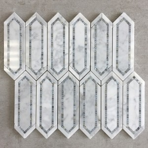 White Carrara Elongated Hexagon Polished Marble  Mosaic Tile - Bamboo Captivate Series