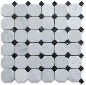 "White Marble 2"" Octagon Polished Mosaic With Black Dot"