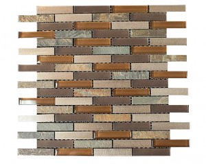 Bronze Aluminum Multi Color Slate Glass Backsplash Mosaic Tiles