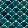 Azul Scallop Tile Smooth Glossy Fish Scale Tile Porcelain Mosaic Perfect for | Kitchen Backsplash | Bathroom Walls | Shower Wall | Accent Wall