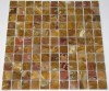 1x1 Multi Brown Onyx Polished Square Pattern Mesh-Mounted Mosaic Tile