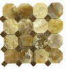 3 x 3 Rustic  White Onyx Octagon Pattern Mesh-Mounted Mosaic Polished Tile with Multi Red Dot